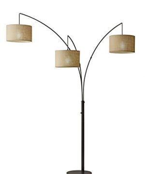 Adesso 4238 26 Trinity Arc Floor Lamp Antique Bronze Finish Beige Burlap Lamp Home Decor Lamps And Light Fixtures 82 0 300x360