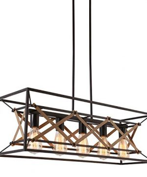 Alice House 315 Island Lighting 5 Light Kitchen Pendant Lighting Dining Room Chandelier Pool Table Light Brown Finish AL8061 P5 0 300x360