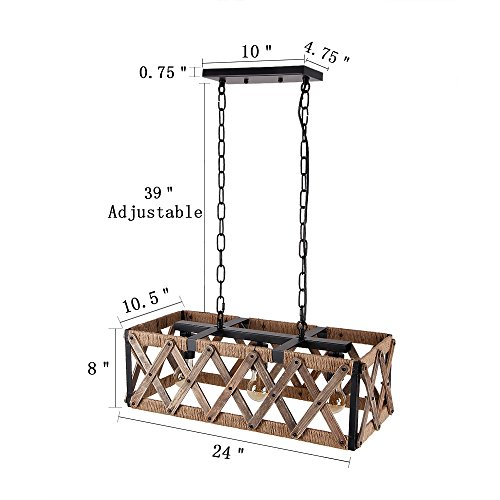 Anmytek Square Metal And Wood Chandelier Basket Pendant Three Lights Oil Black Finishing Rope Net Lamp Shade Retro Vintage Industrial Rustic Ceiling Lamp Caged Light 0 0