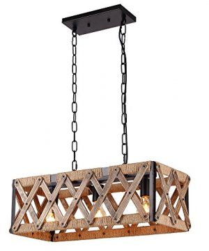 Anmytek Square Metal And Wood Chandelier Basket Pendant Three Lights Oil Black Finishing Rope Net Lamp Shade Retro Vintage Industrial Rustic Ceiling Lamp Caged Light 0 300x360