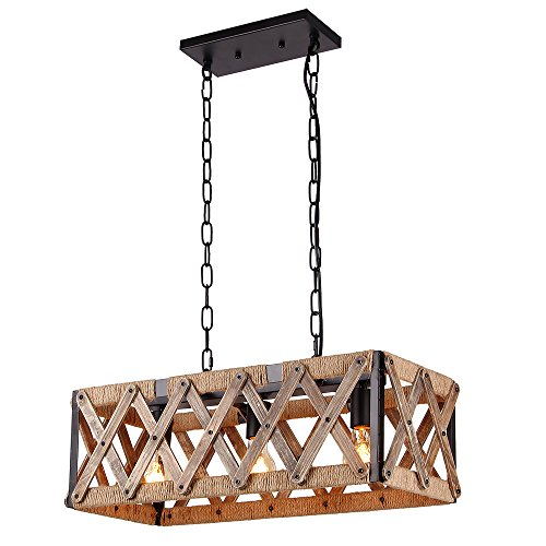 Anmytek Square Metal And Wood Chandelier Basket Pendant Three Lights Oil Black Finishing Rope Net Lamp Shade Retro Vintage Industrial Rustic Ceiling Lamp Caged Light 0