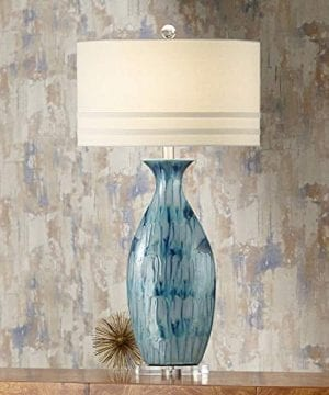 Annette Coastal Table Lamp Ceramic Blue Drip Vase Handcrafted Off White Oval Shade For Living Room Family Bedroom Possini Euro Design 0 300x360