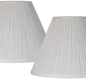 Antique White Pleated Lamp Shade Set Of 2 Traditional 65x15x11 Spider Brentwood 0 300x276