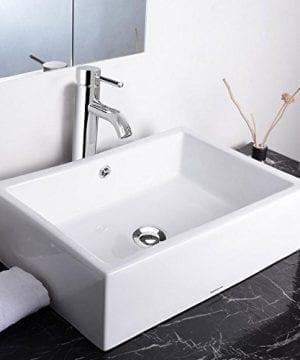 Aquaterior Rectangle Porcelain Ceramic Bathroom Vessel Sink WOverflow12 12 Chrome Faucet LavatoryDrain Set 0 0 300x360
