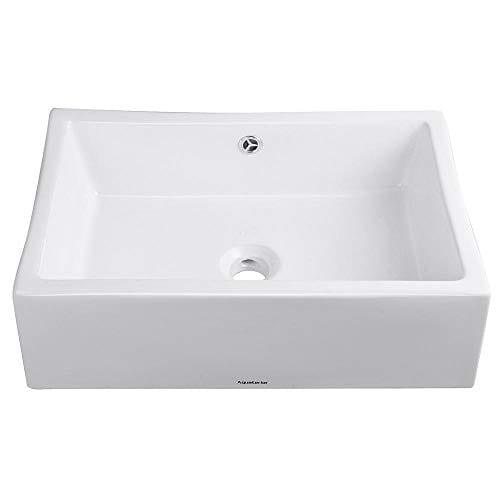 Aquaterior Rectangle Porcelain Ceramic Bathroom Vessel Sink WOverflow12 12 Chrome Faucet LavatoryDrain Set 0 1
