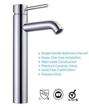 Aquaterior Rectangle Porcelain Ceramic Bathroom Vessel Sink WOverflow12 12 Chrome Faucet LavatoryDrain Set 0 2 300x360