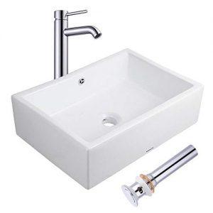 Bathroom  Ceramic Porcelain  Vessel Vanity Sink /& Chrome Pop Up Drain 7880