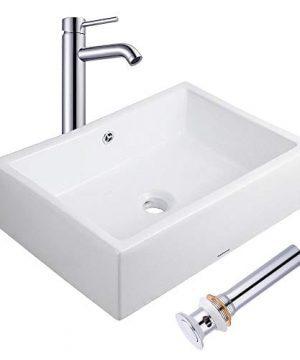 Aquaterior Rectangle Porcelain Ceramic Bathroom Vessel Sink WOverflow12 12 Chrome Faucet LavatoryDrain Set 0 300x360