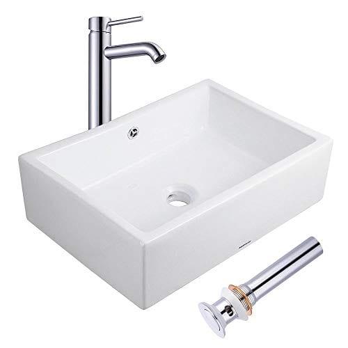 Aquaterior Rectangle Porcelain Ceramic Bathroom Vessel Sink WOverflow12 12 Chrome Faucet LavatoryDrain Set 0