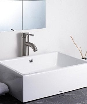Aquaterior Rectangle White Porcelain Ceramic Bathroom Vessel Sink Bowl Basin With Chrome Drain And Overflow 0 0 300x360