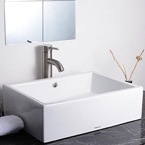 Aquaterior Rectangle White Porcelain Ceramic Bathroom Vessel Sink Bowl Basin With Chrome Drain And Overflow 0 0
