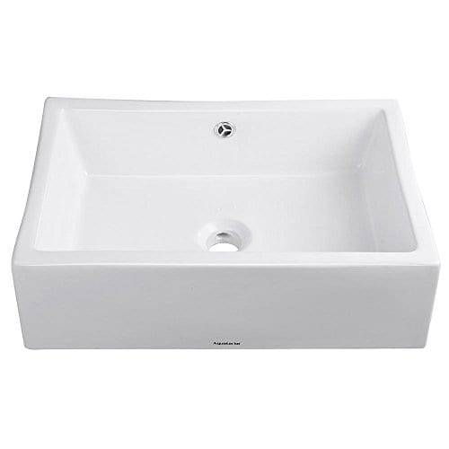 Aquaterior Rectangle White Porcelain Ceramic Bathroom Vessel Sink Bowl Basin With Chrome Drain And Overflow 0 1