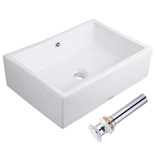 Aquaterior Rectangle White Porcelain Ceramic Bathroom Vessel Sink Bowl Basin With Chrome Drain And Overflow 0