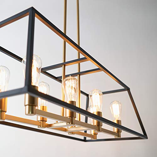 Artika CAR36 ON Rectangular 8 Pendant Light Fixture Kitchen Island Chandelier With A Steel Black And Gold Finish Age Brass 0 1
