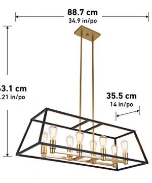 Artika CAR36 ON Rectangular 8 Pendant Light Fixture Kitchen Island Chandelier With A Steel Black And Gold Finish Age Brass 0 3 300x360