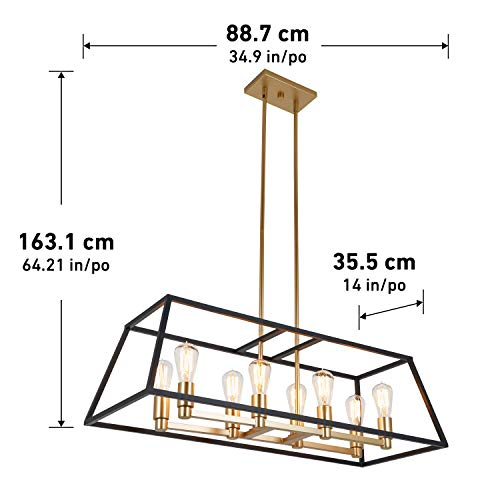 Artika CAR36 ON Rectangular 8 Pendant Light Fixture Kitchen Island Chandelier With A Steel Black And Gold Finish Age Brass 0 3