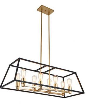 Artika CAR36 ON Rectangular 8 Pendant Light Fixture Kitchen Island Chandelier With A Steel Black And Gold Finish Age Brass 0 300x360
