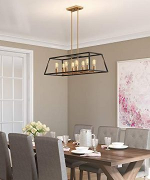 Artika CAR36 ON Rectangular 8 Pendant Light Fixture Kitchen Island Chandelier With A Steel Black And Gold Finish Age Brass 0 4 300x360