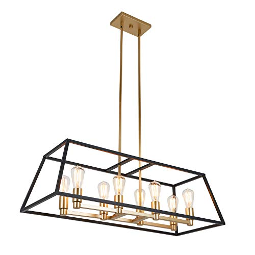 Artika CAR36 ON Rectangular 8 Pendant Light Fixture Kitchen Island Chandelier With A Steel Black And Gold Finish Age Brass 0