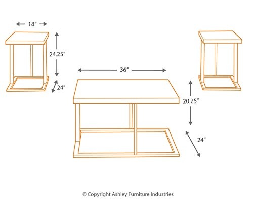 Ashley Furniture Signature Design Airdon Contemporary 3 Piece Table Set Includes Coffee Table 2 End Tables Bronze Finish 0 3