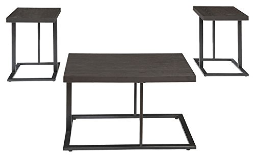 Ashley Furniture Signature Design Airdon Contemporary 3 Piece Table Set Includes Coffee Table 2 End Tables Bronze Finish 0