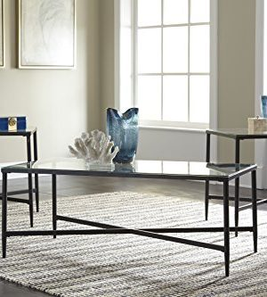 Ashley Furniture Signature Design Augeron Contemporary 3 Piece Table Set Includes Cocktail Table 2 End Tables Black 0 0 300x333