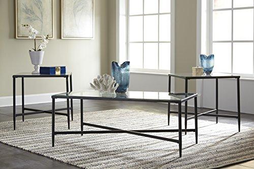 Ashley Furniture Signature Design Augeron Contemporary 3 Piece Table Set Includes Cocktail Table 2 End Tables Black 0 0