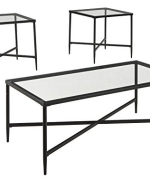 Ashley Furniture Signature Design Augeron Contemporary 3 Piece Table Set Includes Cocktail Table 2 End Tables Black 0 300x360