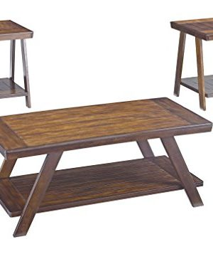Ashley Furniture Signature Design Bradley 3 Piece Occasional Table Set Burnished Brown 0 300x357