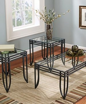 Ashley Furniture Signature Design Exeter Glass Top Occasional Table Set Contains Cocktail Table 2 End Tables Contemporary BlackBrown 0 2 300x360