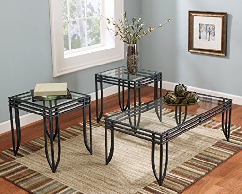 Ashley Furniture Signature Design Exeter Glass Top Occasional Table Set Contains Cocktail Table 2 End Tables Contemporary BlackBrown 0 2