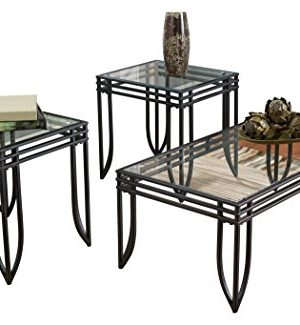 Ashley Furniture Signature Design Exeter Glass Top Occasional Table Set Contains Cocktail Table 2 End Tables Contemporary BlackBrown 0 300x325