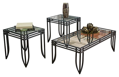 Ashley Furniture Signature Design Exeter Glass Top Occasional Table Set Contains Cocktail Table 2 End Tables Contemporary BlackBrown 0