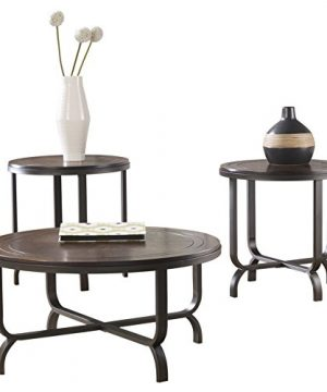 Ashley Furniture Signature Design Ferlin Circular Occasional Table Set Contains Cocktail Table 2 End Tables Contemporary Dark Brown 0 0 300x360