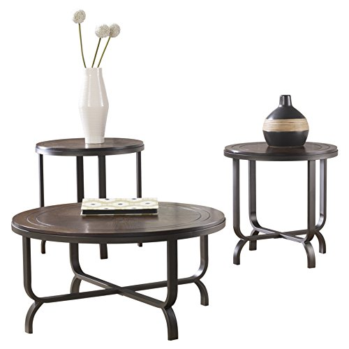 Ashley Furniture Signature Design Ferlin Circular Occasional Table Set Contains Cocktail Table 2 End Tables Contemporary Dark Brown 0 0