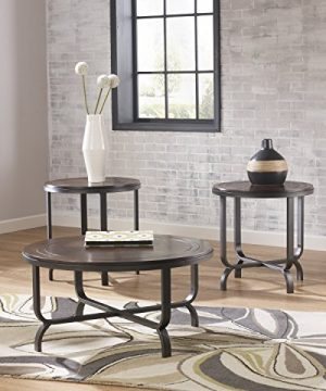 Ashley Furniture Signature Design Ferlin Circular Occasional Table Set Contains Cocktail Table 2 End Tables Contemporary Dark Brown 0 1 300x360