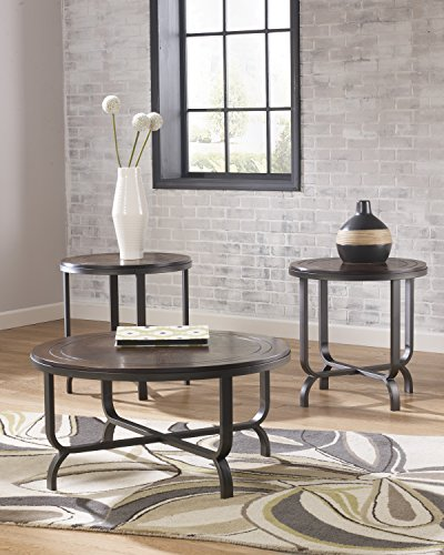 Ashley Furniture Signature Design Ferlin Circular Occasional Table Set Contains Cocktail Table 2 End Tables Contemporary Dark Brown 0 1