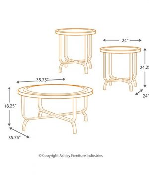 Ashley Furniture Signature Design Ferlin Circular Occasional Table Set Contains Cocktail Table 2 End Tables Contemporary Dark Brown 0 3 300x360