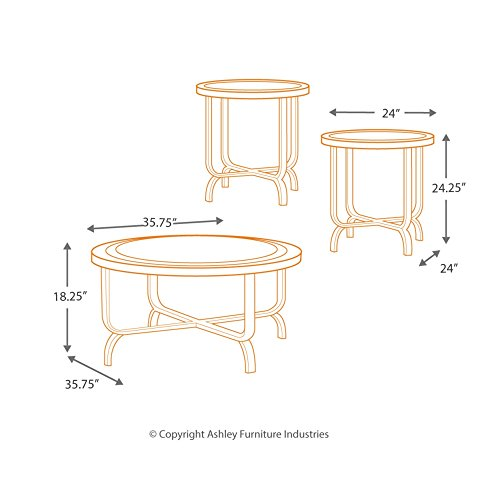 Ashley Furniture Signature Design Ferlin Circular Occasional Table Set Contains Cocktail Table 2 End Tables Contemporary Dark Brown 0 3