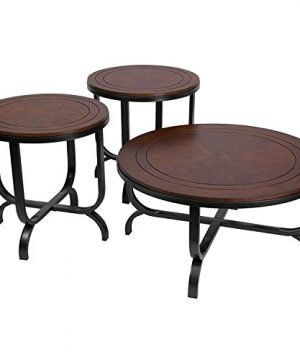 Ashley Furniture Signature Design Ferlin Circular Occasional Table Set Contains Cocktail Table 2 End Tables Contemporary Dark Brown 0 300x360