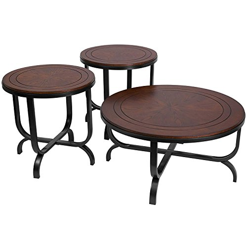 Ashley Furniture Signature Design Ferlin Circular Occasional Table Set Contains Cocktail Table 2 End Tables Contemporary Dark Brown 0