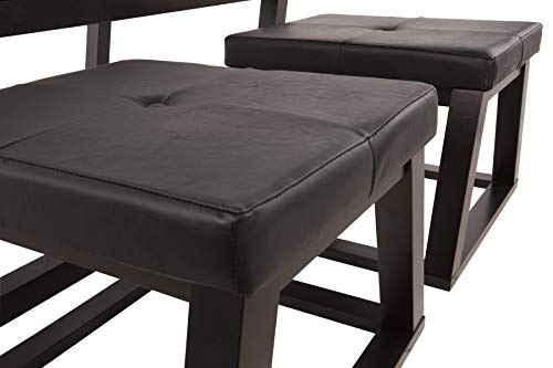 Ashley Furniture Signature Design Kelton Coffee Table With 2 Stools Cocktail Height 3 Piece Set Espresso Brown With Glass Top 0 1