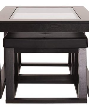 Ashley Furniture Signature Design Kelton Coffee Table With 2 Stools Cocktail Height 3 Piece Set Espresso Brown With Glass Top 0 2 300x360