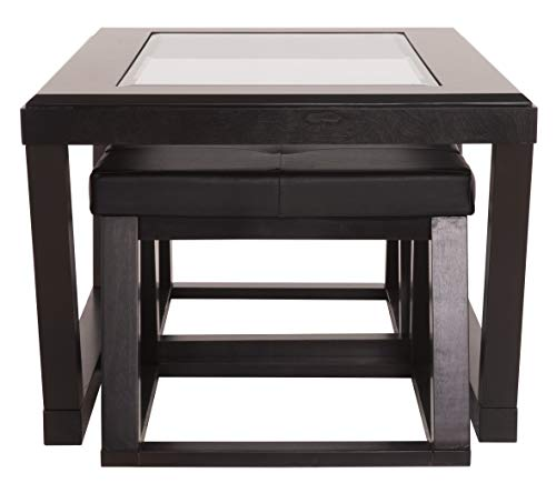 Ashley Furniture Signature Design Kelton Coffee Table With 2 Stools Cocktail Height 3 Piece Set Espresso Brown With Glass Top 0 2