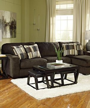 Ashley Furniture Signature Design Kelton Coffee Table With 2 Stools Cocktail Height 3 Piece Set Espresso Brown With Glass Top 0 3 300x360
