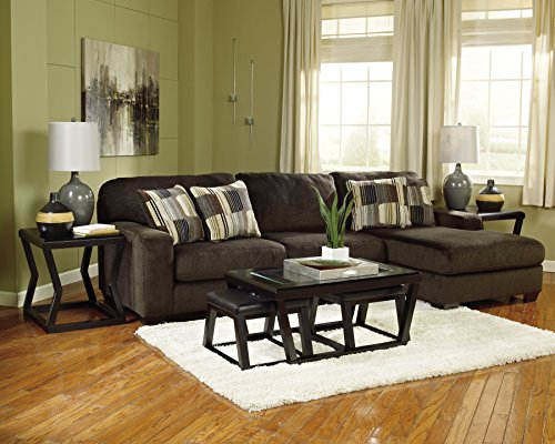 Ashley Furniture Signature Design Kelton Coffee Table With 2 Stools Cocktail Height 3 Piece Set Espresso Brown With Glass Top 0 3