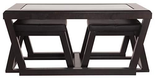 Ashley Furniture Signature Design Kelton Coffee Table With 2 Stools Cocktail Height 3 Piece Set Espresso Brown With Glass Top 0