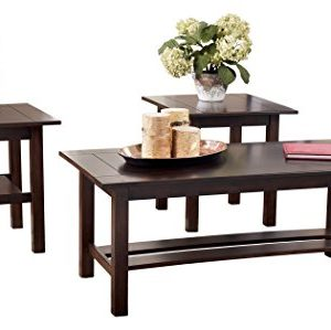 Ashley Furniture Signature Design Lewis Occasional Table Set With Plank Style Shelves Contains Cocktail Table 2 End Tables Contemporary Medium Brown 0 300x299