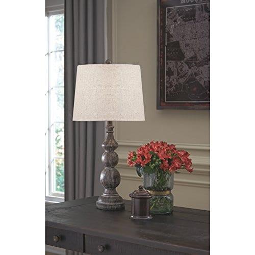 Ashley Furniture Signature Design Mair Poly Table Lamps Set Of 2 Timeworn Finish Antique Black 0 0