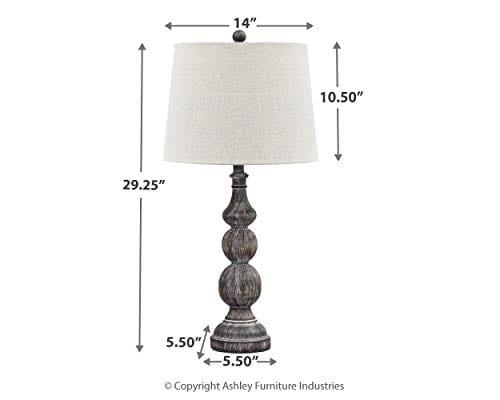 Ashley Furniture Signature Design Mair Poly Table Lamps Set Of 2 Timeworn Finish Antique Black 0 1